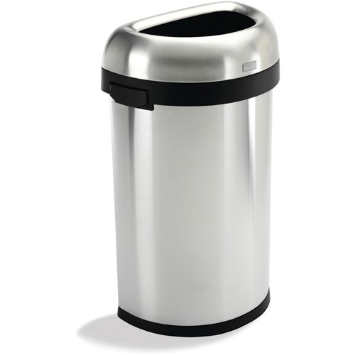 Simplehuman Semi-Round Stainless Steel Receptacle - 16-Gallon Capacity