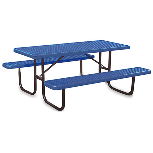Ultraplay Thermoplastic Coated Steel Picnic Table - 1-5/8' Dia. Frame - 6'L - Blue