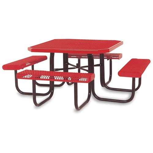 ULTRAPLAY® Ultraplay Thermoplastic Coated Steel Picnic Table - 46x46' - Rolled-Edge - Red