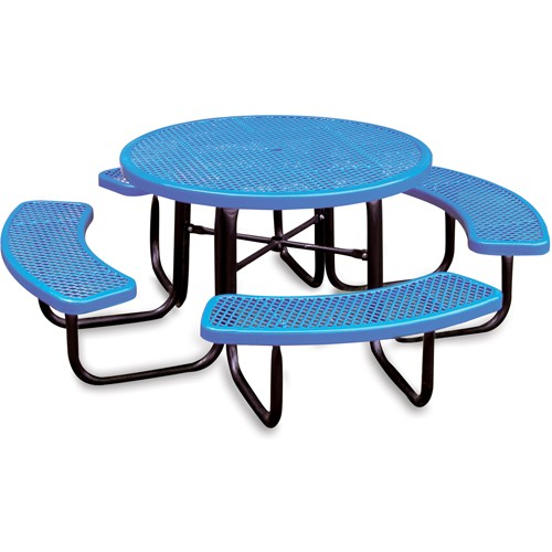 ULTRAPLAY® Ultraplay Thermoplastic Coated Steel Picnic Table - 46' Dia. - Blue
