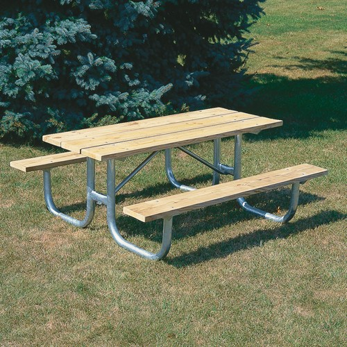 IndustrialSupplies Extra Heavy-Duty Wooden Picnic Table - 6'L - Black Powder Coat Frame