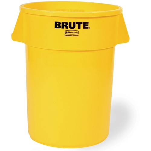 Rubbermaid Brute Round Container - 32-Gallon Capacity - Yellow