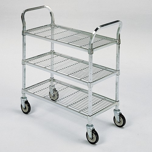 Relius Solutions Square-Post Wire Utility Carts With Rubber Casters -36'Wx24'D Shelf - 3 Shelves